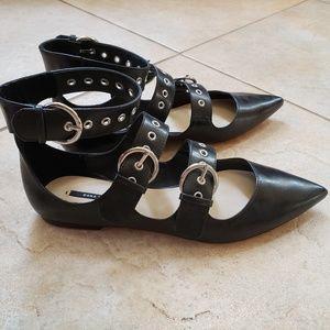 NWOT Zara Black Pointed Strappy Flats Sz 39